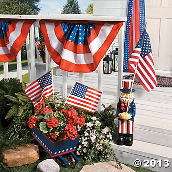 american flags on a deck