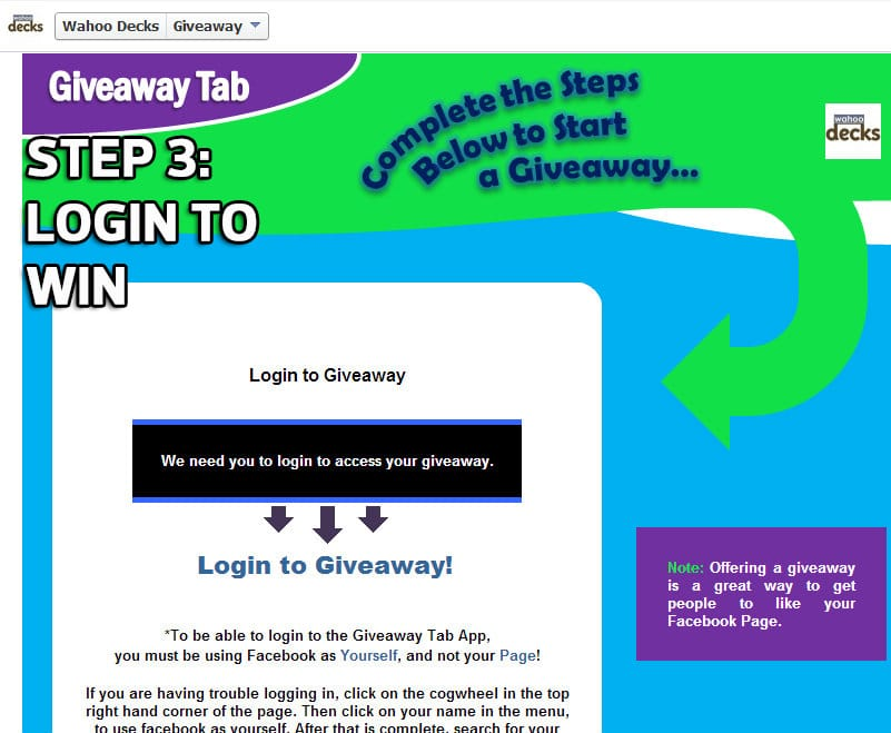login into to giveaway
