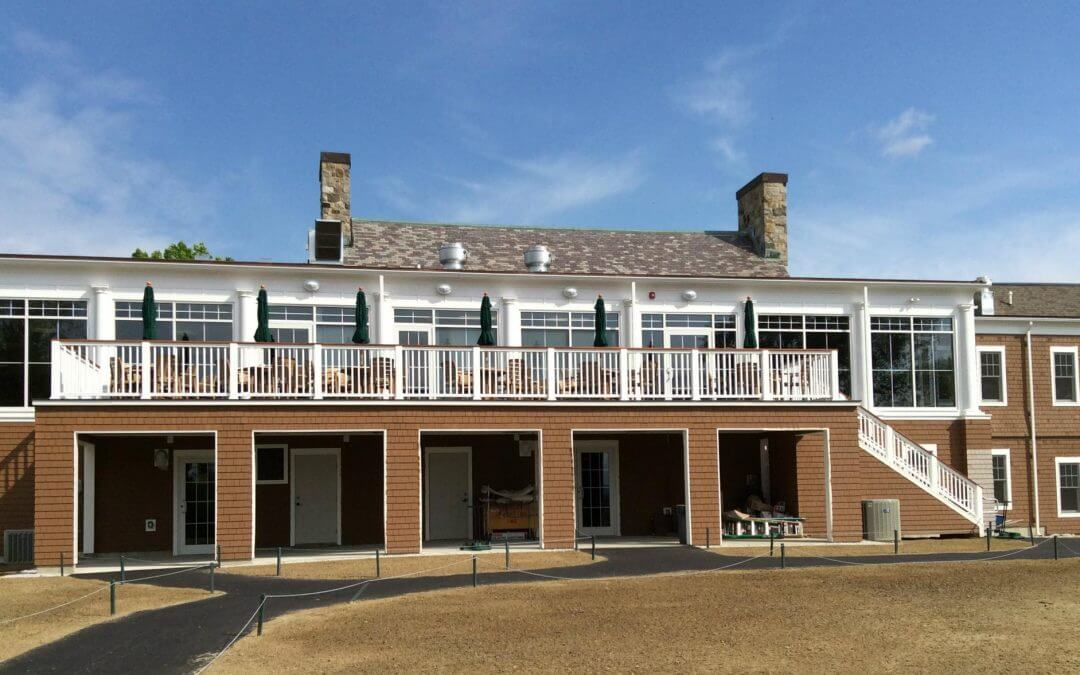 DryJoistEZ Deck Drainage System by Wahoo Decks Selected for Use on Outdoor Balcony in Concord, New Hampshire, for Concord Country Club