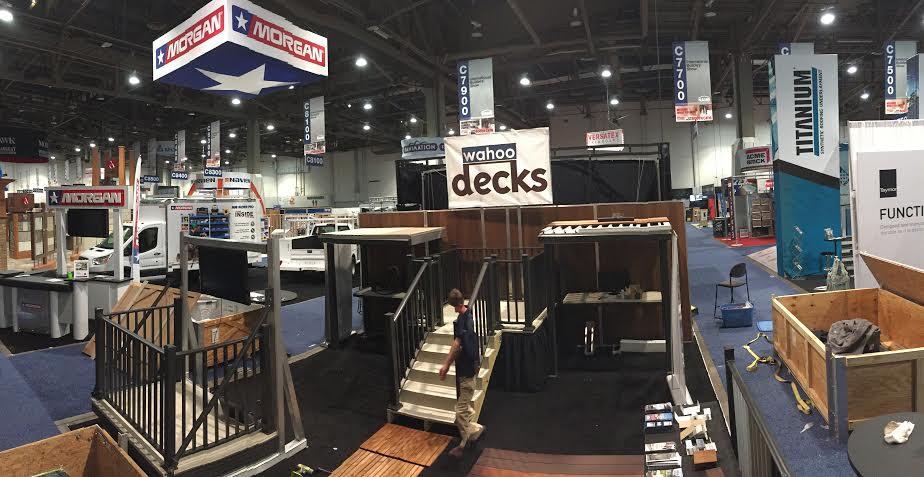 wahoo decks at international builder show demonstrating our aluminum decking and aluminum railing