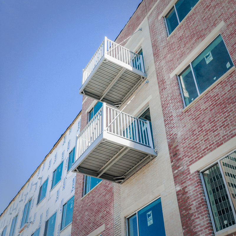 The Highline 2 Apartment Complex by Nustyle Development In Omaha, Nebraska Features The Wahoo Complete Balcony System by Wahoo Decks